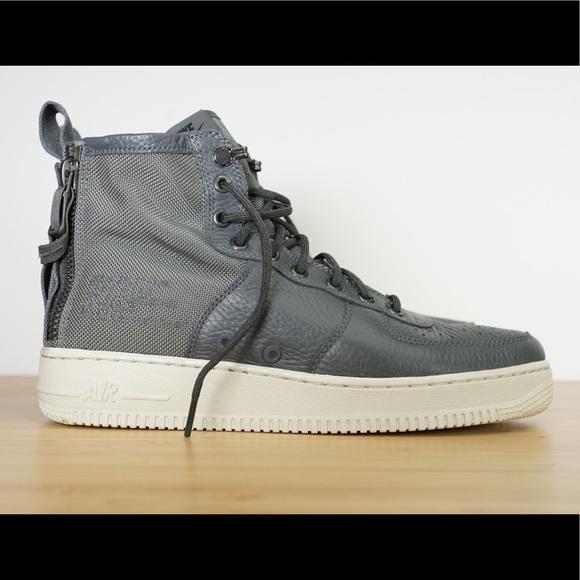 935de081d5fceb Mens Nike SF AF1 Mid Dark Grey   Light Bone Boots